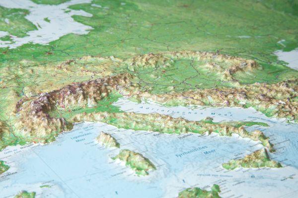 Evropa rámovaná plastická reliéfní mapa 1:8 000 000 - 80 x 60 cm, Doprava zdarma