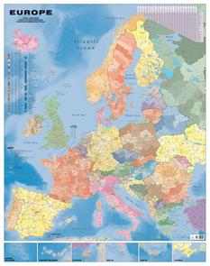 Evropa - nástěnná spediční mapa PSČ 135x180 cm