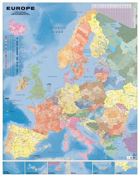 Evropa - nástěnná spediční mapa PSČ 135x180 cm - 135x180 cm, Doprava zdarma