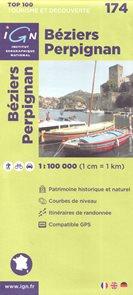 Béziers Perpignan 1:100 000 Cyklomapa IGN