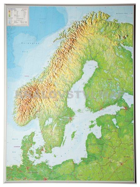 Skandinávie - nástěnná mapa 80 x 100 cm - 80x100 cm