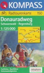 Dunajská stezka - Schwarzwald-Regenburg - cykloprůvodce Kompass150 - 1:125t /Německo/