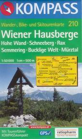 Wiener Hausberge, Hohe Wand, Schneeberg, Rax, Semmering - mapa Kompass č.210 /Rakousko/