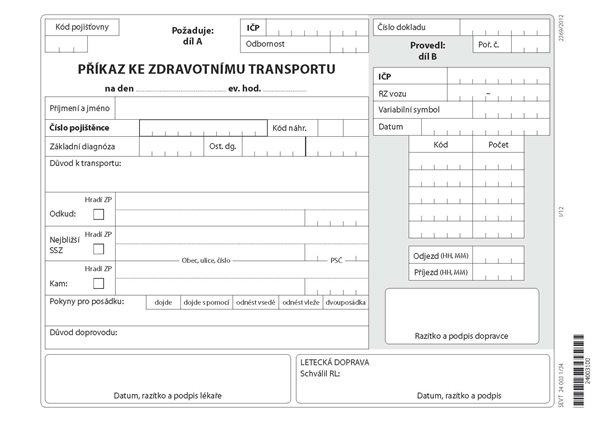 34- Příkaz ke zdravotnímu transportu - blok A5 2x50 l., gramáž kancelářského papíru (80 g)