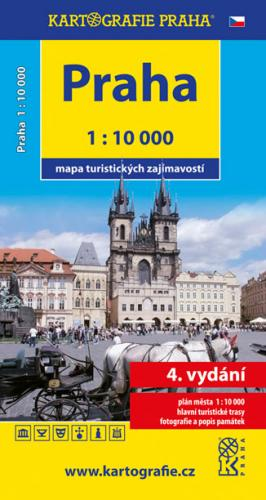 Praha mapa turistických zajímavostí 1: 10 000