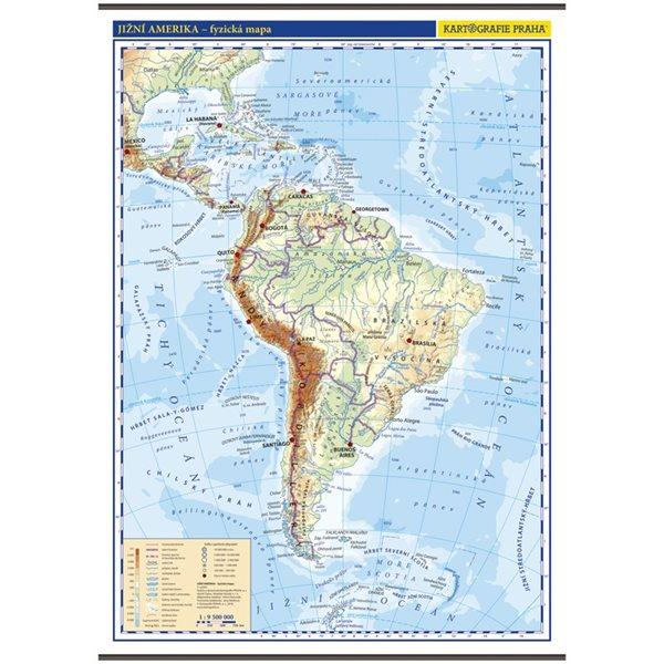 Jižní Amerika – nástěnná fyzická mapa 1 : 9 500 000