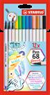 STABILO Pen 68 brush Vláknový fix - sada 12 barev