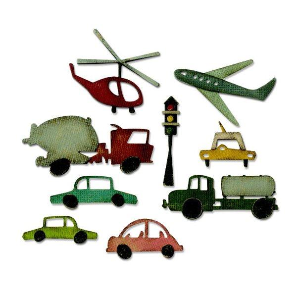 Kovové vyřezávací šablony Thinlits - Dopravní prostředky (22ks)