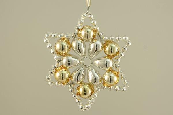 Sada na výrobu ozdoby z perliček - Huderovka - stříbrná/zlatá