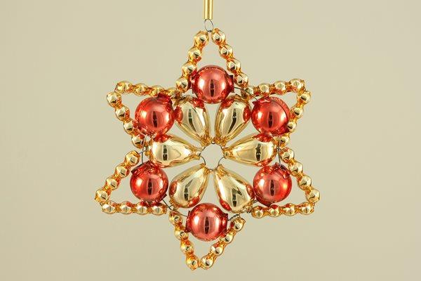 Sada na výrobu ozdoby z perliček - Huderovka - zlatá/červená