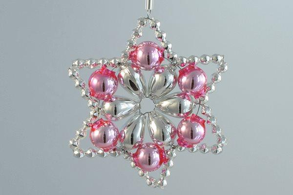 Sada na výrobu ozdoby z perliček - Huderovka - stříbrná/růžová