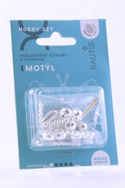 Sada na výrobu ozdoby z perliček - Motýlek - stříbrný
