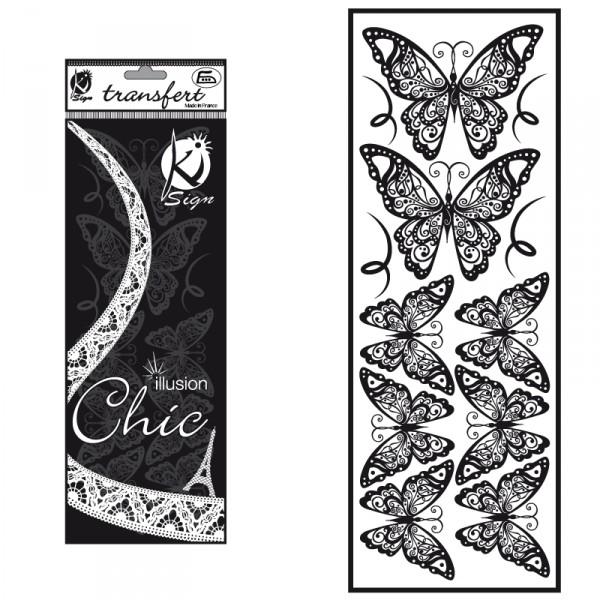 Nažehlovací obrázek - sametový černý - Motýl