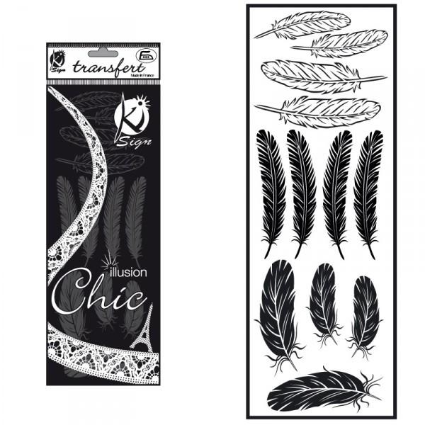 Nažehlovací obrázek - sametový černý - Peří