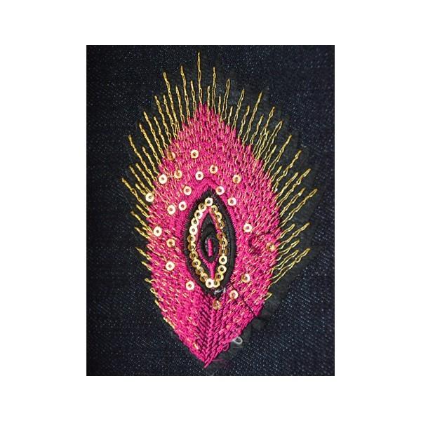 Nažehlovací obrázek - krajkový - Páví peří růžové