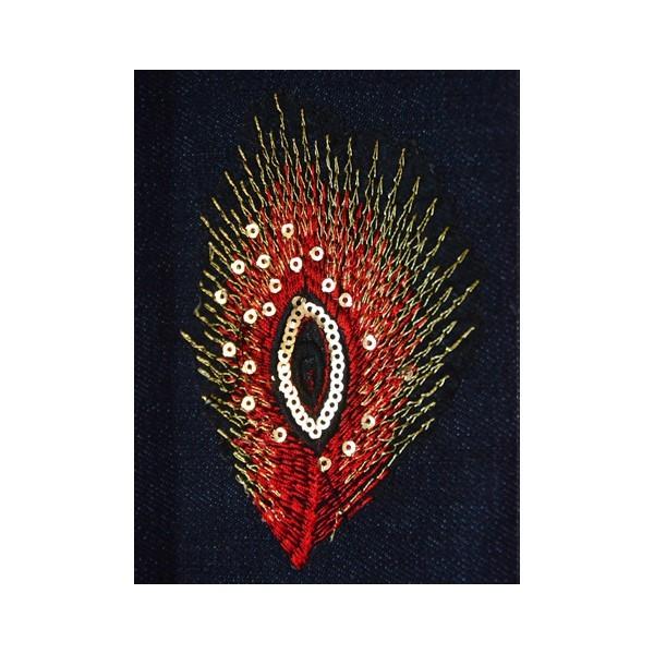 Nažehlovací obrázek - krajkový - Páví peří tmavě červené