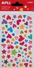Plastické samolepky - srdce a hvězdy s potiskem - 1 list