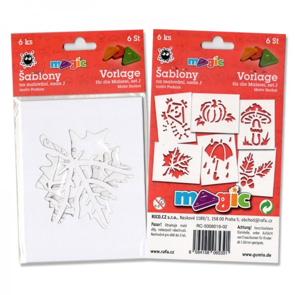 Papírové šablony - Podzim - 6 ks, Sleva 20%