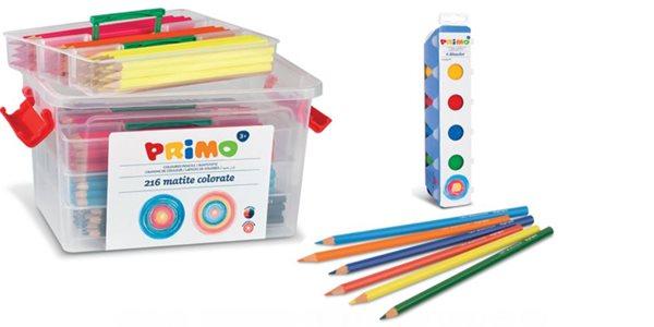 AKCE: Dřevěné pastelky PRIMO - 216 ks + ZDARMA prstové barvy 6x25ml