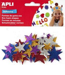 APLI Samolepicí pěnové výseky - Hvězdy, mix metalických 5 barev, 50 ks