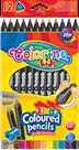 Trojhranné pastelky Colorino, JUMBO černé, 12 barev + ořezávátko