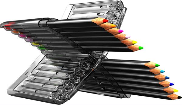 Trojhranné pastelky X-COLOR - v plastovém pouzdře/stojánku, 12 barev