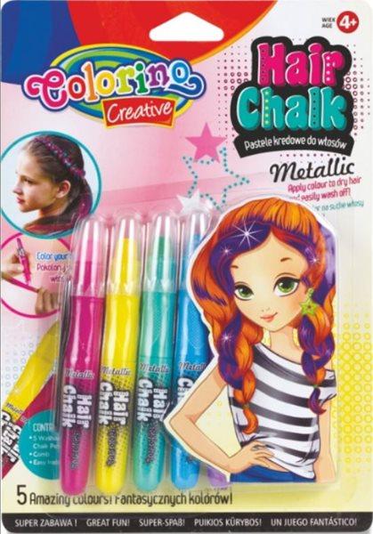 Barevné křídy na vlasy - metalické, Colorino - 5 barev