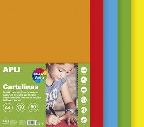 APLI Sada barevných papírů, A4, 170 g, 50 listů, mix pestrých barev
