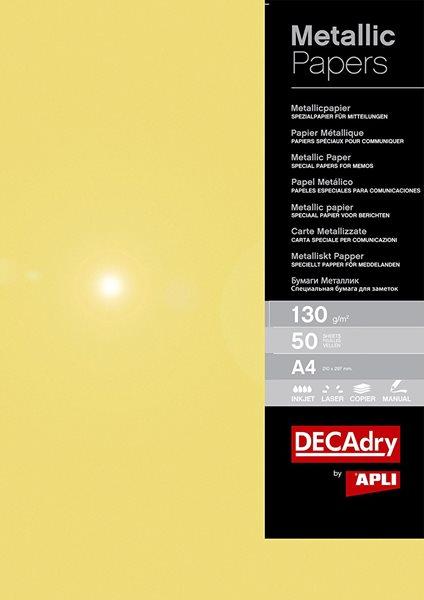 APLI Metalický papír A4 130 g - zlatý, 50 listů