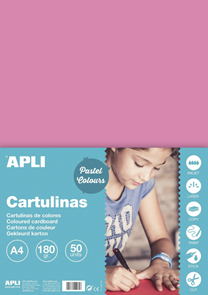 APLI sada barevných papírů, A4, 170 g, růžový - 50 ks