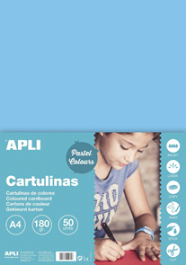 APLI sada barevných papírů, A4, 170 g, světle modrý - 50 ks
