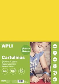 APLI sada barevných papírů, A4, 170 g, žlutý - 50 ks