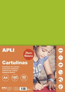 APLI sada barevných papírů, A4, 170 g, fluo-zelený - 50 ks