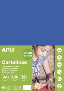 APLI sada barevných papírů, A4, 170 g, středně modrý - 50 ks