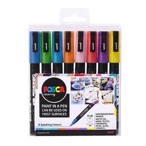Akrylové popisovače POSCA, PC-3M, 0,9–1,3 mm - 8 třpytivých barev
