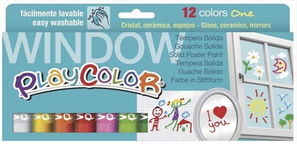 Playcolor - tuhé temperové barvy na sklo - 12 ks
