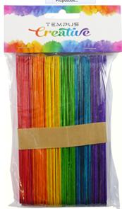 Dřevěné špachtle barevné - 15 x 1,7 cm, 50 ks