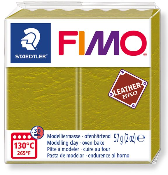 FIMO LEATHER efekt - olivová zelená