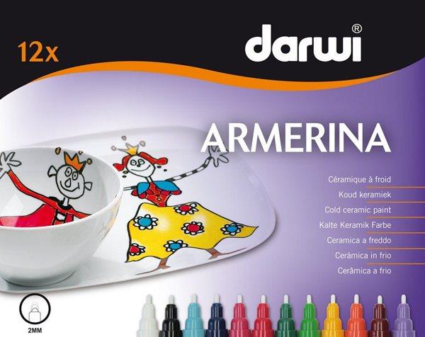 ARMERINA fixy na porcelán bez vypalování - sada 12 x 6 ml