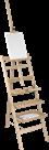 Malířský stojan AMI z mořeného bukového dřeva s poličkami