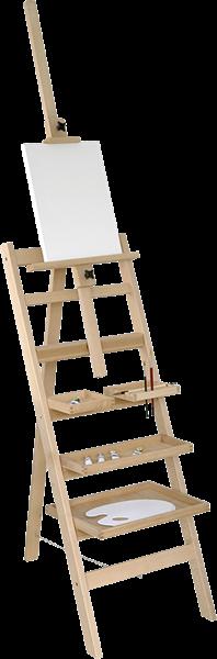 Malířský stojan AMI z mořeného bukového dřeva s poličkami, Doprava zdarma