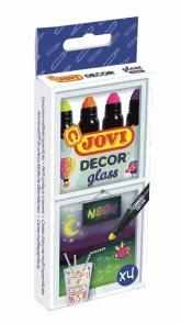 Fixy JOVIDECOR na sklo 4 ks - neonové