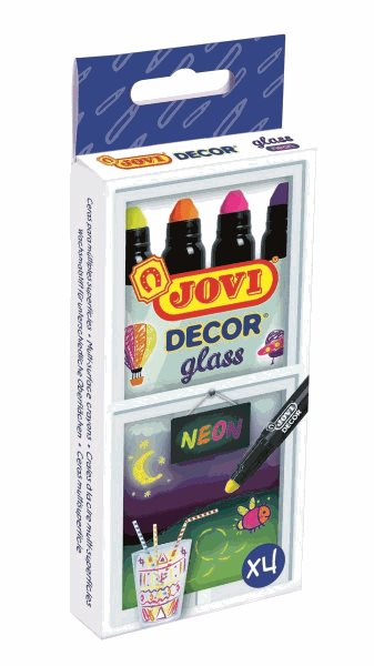 Fixy JOVIDECOR na sklo 4ks - neonové