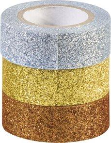 Sada samolepicích papírových washi pásek Heyda - Zlatá, stříbrná,měděná