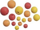 Dřevěné korálky, mix - žlutá, oranžová, červená (20 ks)