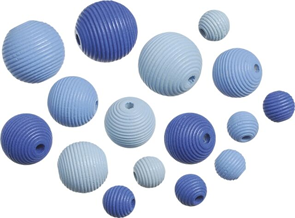 Dřevěné korálky, mix - modrá (20 ks)