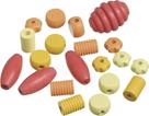 Dřevěné korálky, mix různé tvary - žlutá, oranžová, červená (20 ks)