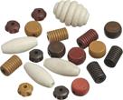 Dřevěné korálky, mix různé tvary - hnědá (20 ks)
