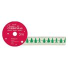 Docrafts Vánoční bavlněná krémová stuha - Stromy