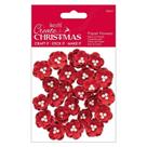 Docrafts Papírové květy - červené s perličkou (24ks)
